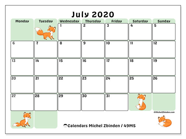 Printable calendar, July 2020, 49MS