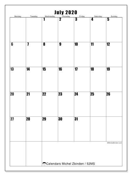 Printable calendar, July 2020, 52MS