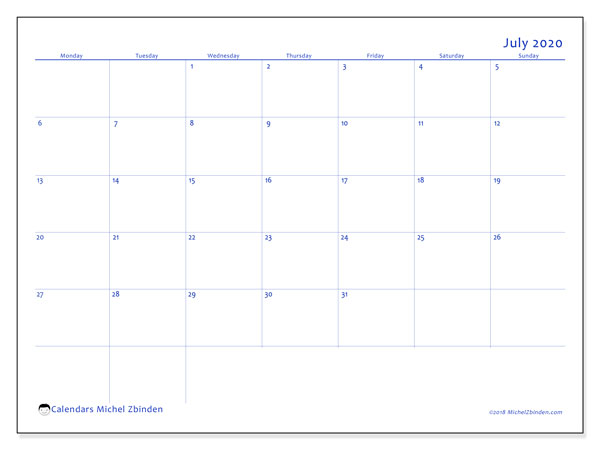 July 2020 Calendar, 55MS. Planner to print free.