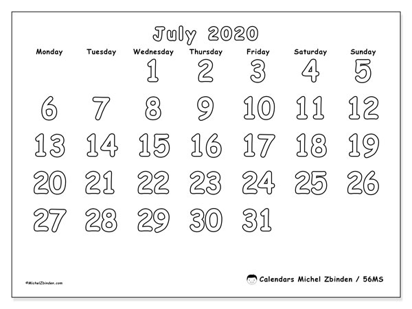 Printable calendar, July 2020, 56MS