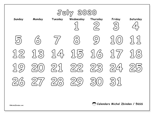 July 2020 Calendar, 56SS. Planner to print free.