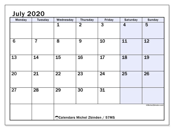 Printable calendar, July 2020, 57MS