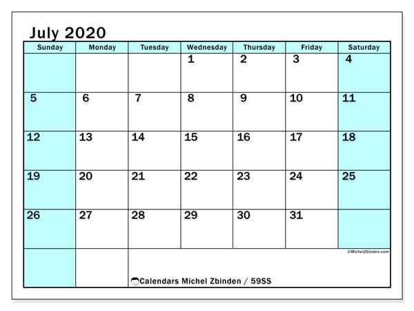 July 2020 Calendar, 59SS. Free printable planner.