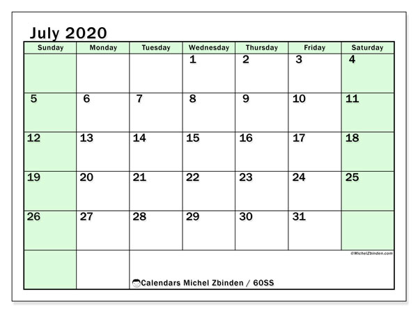 July 2020 Calendar, 60SS. Planner to print free.