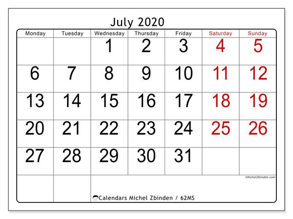 Printable calendar, July 2020, 62MS