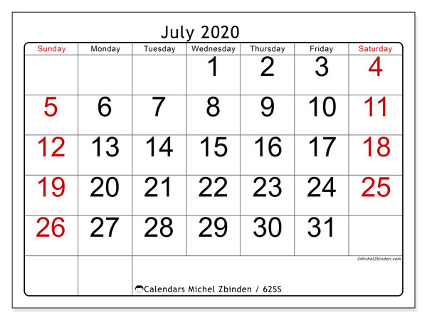 July 2020 Calendar, 62SS. Free printable monthly planner.