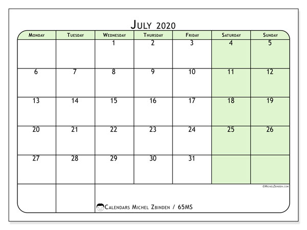 Printable calendar, July 2020, 65MS