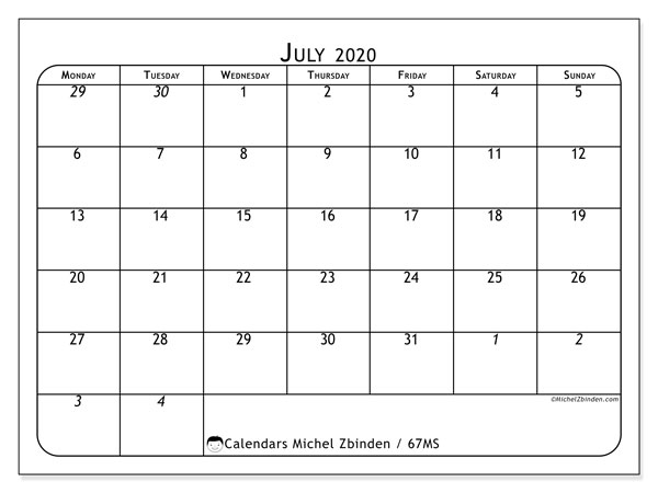 Printable calendar, July 2020, 67MS