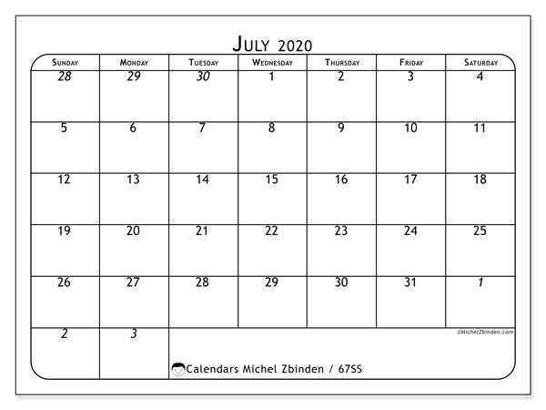 July 2020 Calendar, 67SS. Free printable monthly calendar.