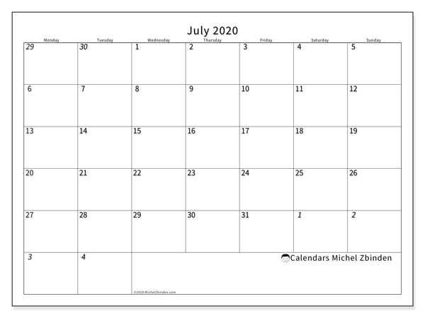 July 2020 Calendar, 70MS. Free calendar to print.