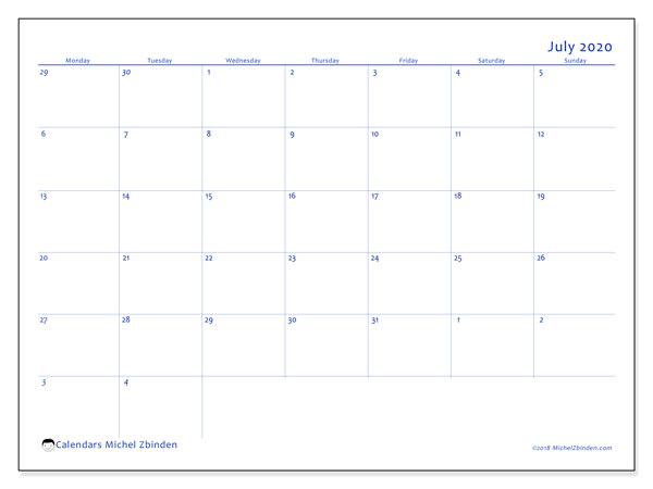July 2020 Calendar, 73MS. Calendar to print free.