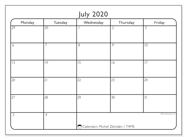July 2020 Calendar, 74MS. Planner to print free.