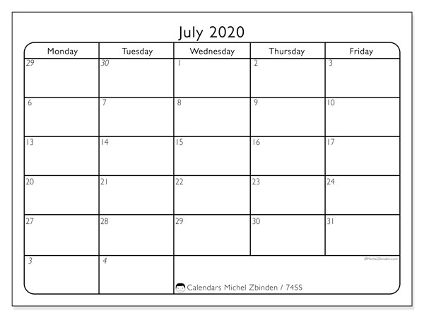 Calendar July 2020 - 74SS. Working Days. Monthly Calendar and agenda to print free.