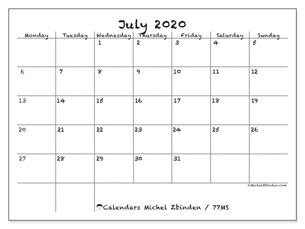 Printable calendar, July 2020, 77MS