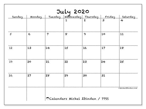Printable calendars, July 2020, Sunday - Saturday