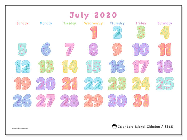 "Printable July 2020 calendar. Monthly calendar ""83SS"" and free schedule to print"