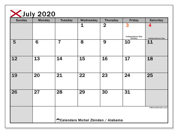 July 2020 Calendar, with the holidays of Alabama. Holidays calendar to print free.