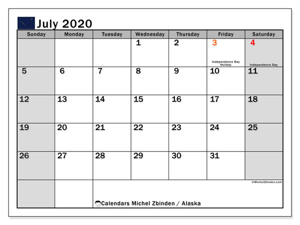 July 2020 Calendar, with the holidays of Alaska. Free printable calendar with public holidays.