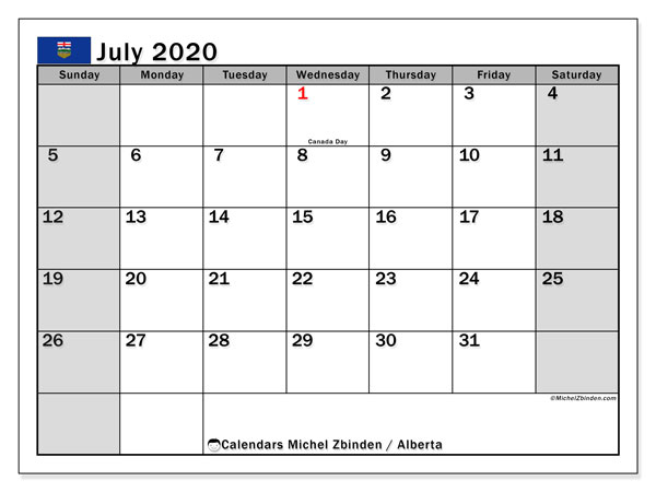 July 2020 Calendar, with the holidays of Alberta. Free printable calendar with public holidays.