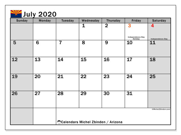 Calendar July 2020 - Arizona. Public Holidays. Monthly Calendar and timetable to print free.