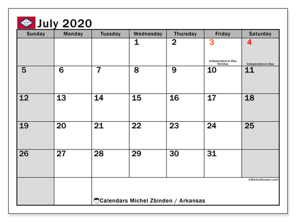July 2020 Calendar, with the holidays of Arkansas. Holidays calendar to print free.