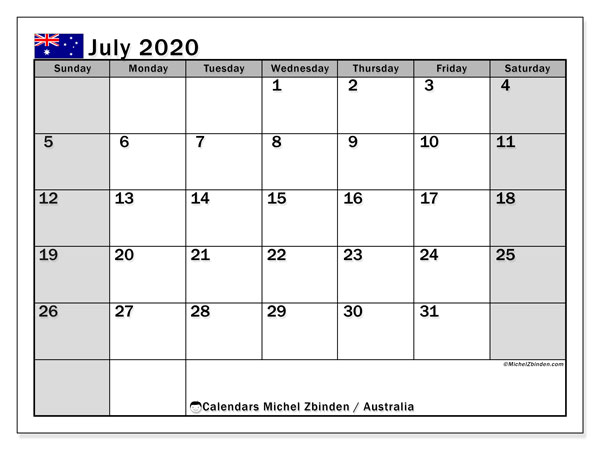 July 2020 Calendar, with the holidays of Australia. Holidays calendar to print free.