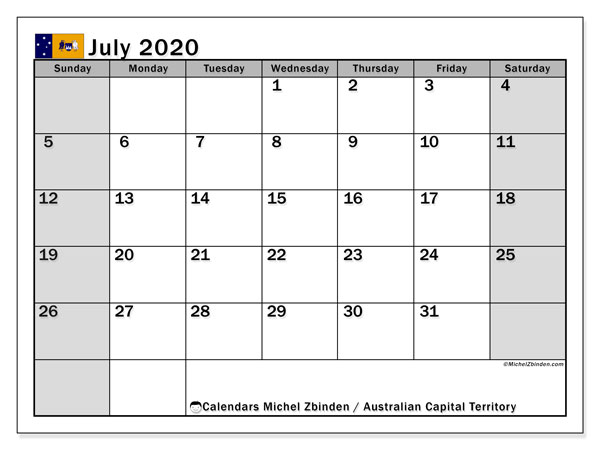 July 2020 Calendar, with the holidays of Australian Capital Territory. Free printable calendar with public holidays.