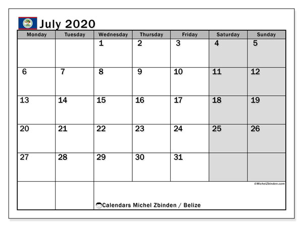 July 2020 Calendar, with the holidays of Belize. Free printable calendar with public holidays.