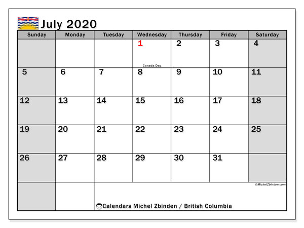 July 2020 Calendar, with the holidays of British Columbia. Free printable calendar with public holidays.
