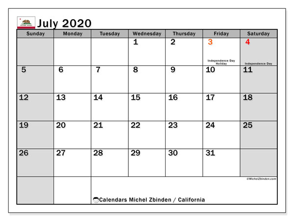 Calendar July 2020 - California. Public Holidays. Monthly Calendar and free timetable to print.