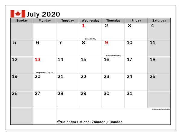 July 2020 Calendar, with the holidays of Canada. Free printable calendar with public holidays.