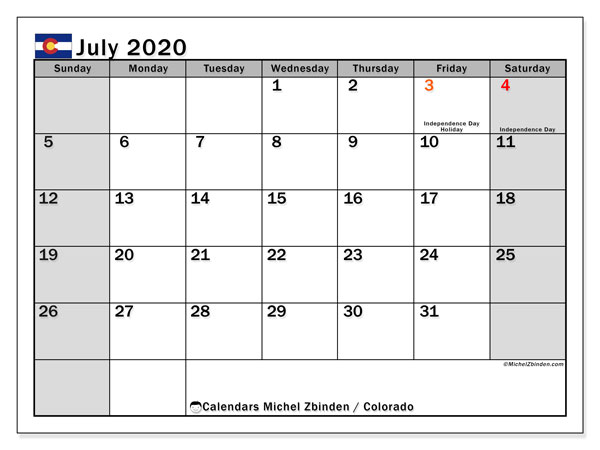 July 2020 Calendar, with the holidays of Colorado. Free printable calendar with public holidays.