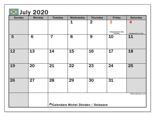 Calendar July 2020 - Delaware. Public Holidays. Monthly Calendar and free planner to print.