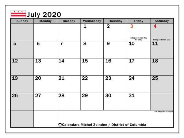 July 2020 Calendar, with the District of Columbia holidays. Holidays calendar to print free.