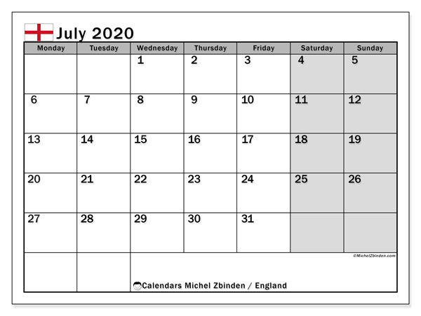 July 2020 Calendar, with the holidays of England. Holidays calendar to print free.