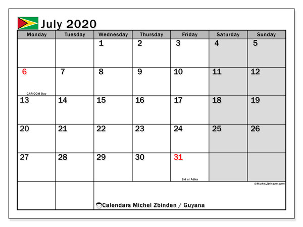Printable July 2020 Calendar, Guyana