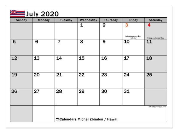 July 2020 Calendar, with the Hawaii holidays. Holidays calendar to print free.
