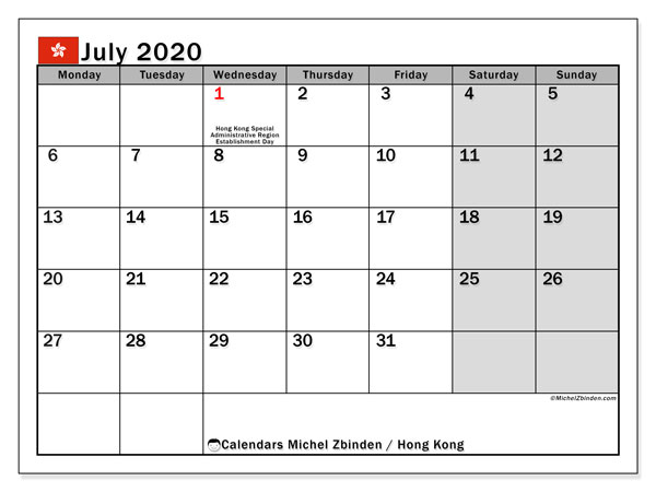 Printable July 2020 Calendar, Hong Kong