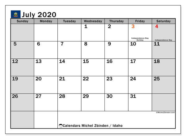 "Printable ""Idaho"" calendar with public holidays. Monthly July 2020 calendar and free agenda to print."