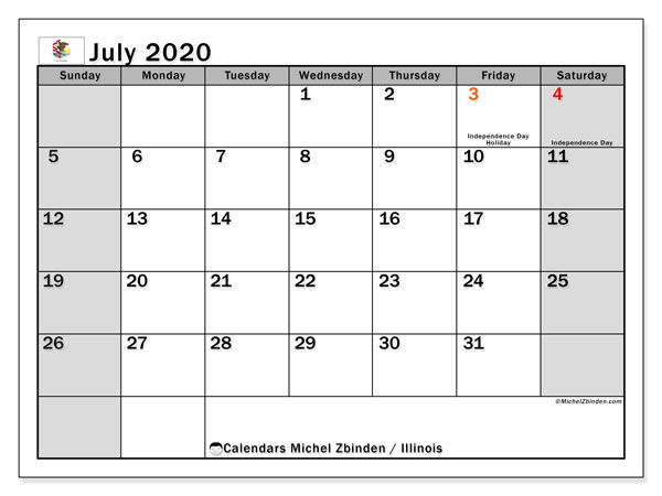 July 2020 Calendar, with the holidays of Illinois. Holidays calendar to print free.
