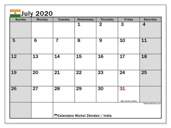 Printable calendars, July 2020, Public Holidays