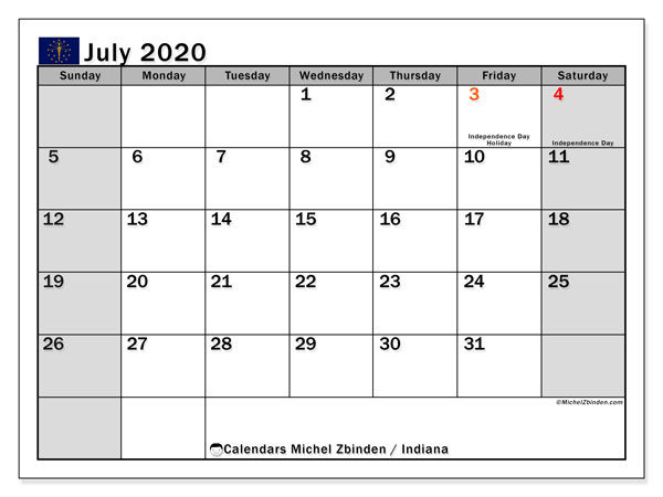 Calendar July 2020 - Indiana. Public Holidays. Monthly Calendar and free agenda to print.