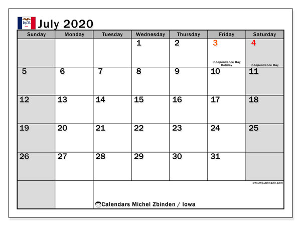 Calendar July 2020 - Iowa. Public Holidays. Monthly Calendar and free printable schedule.