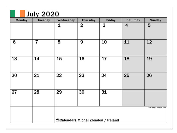 Printable July 2020 Calendar, Ireland