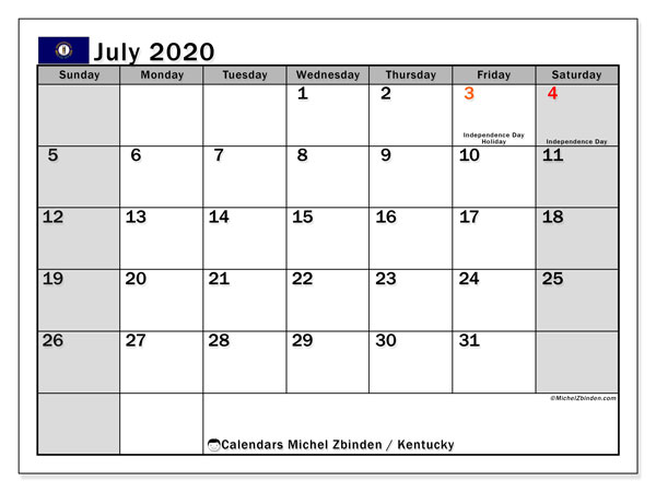 Calendar July 2020 - Kentucky. Public Holidays. Monthly Calendar and free printable schedule.