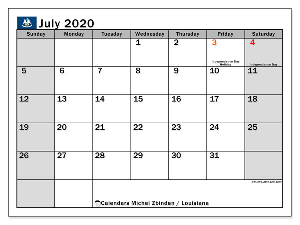 July 2020 Calendar, with the holidays of Louisiana. Free printable calendar with public holidays.