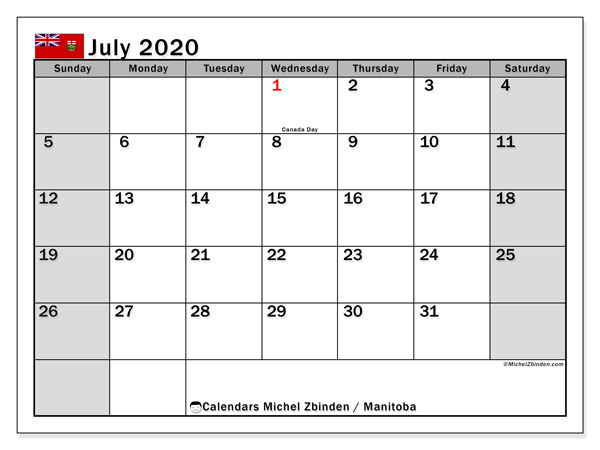 "Printable ""Manitoba"" calendar with public holidays. Monthly July 2020 calendar and free agenda to print."