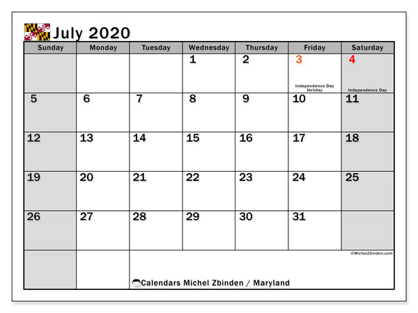 July 2020 Calendar, with the holidays of Maryland. Holidays calendar to print free.