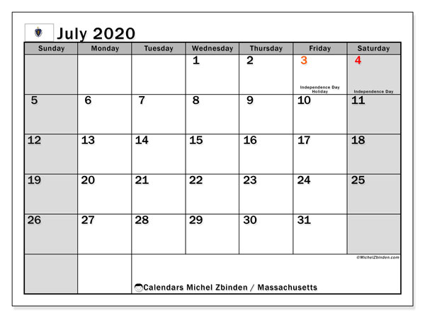 July 2020 Calendar, with the holidays of Massachusetts. Free printable calendar with public holidays.