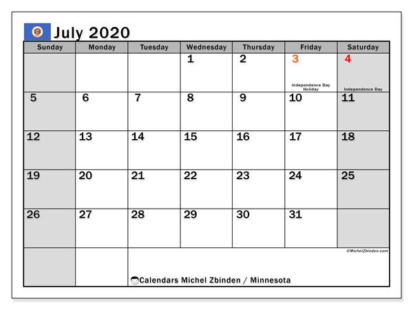 July 2020 Calendar, with the holidays of Minnesota. Holidays calendar to print free.